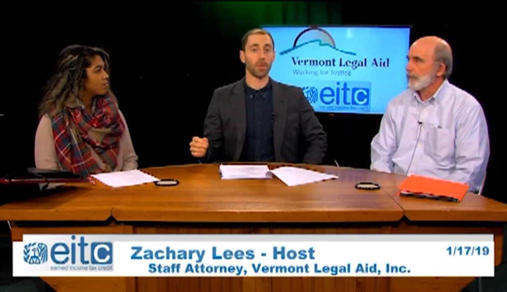 Screenshot of Zach Lees of Vermont Legal Aid talking about the Earned Income Tax Credit. Link opens video in YouTube.