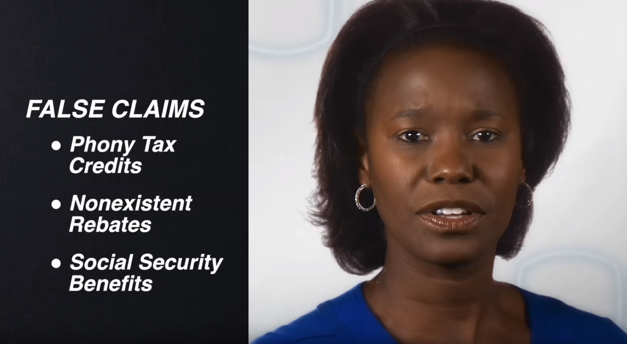 Screenshot of an IRS video about tax scams