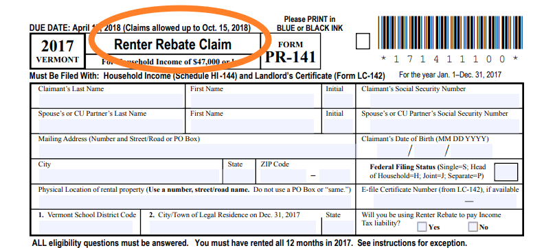 Image of top part of the Vermont Renter Rebate Claim form