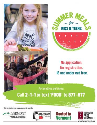 A flier about the free summer meals program that you can share