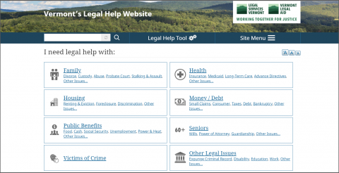 Screenshot of VTLawHelp.org home page