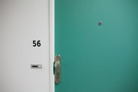 Photo of a green apartment door and doorknob with a lock