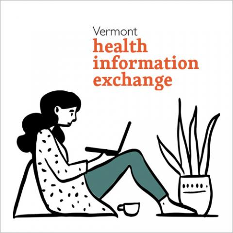 "Illustration of a woman on a computer with the words ""Vermont Health Information Exchange"""