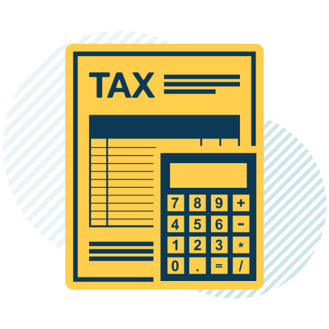 Graphic of a tax form and calculator
